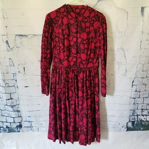 2fa137ff036c5a Sz 12 Laura Ashley Floral Red Floral Dress